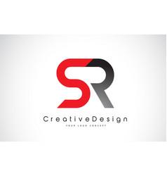 Red and black sr s r letter logo design creative vector
