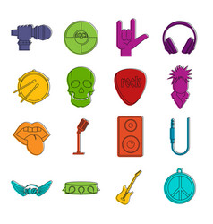 rock music icons doodle set vector image vector image