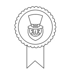 Rosette badge with face leprechaun character vector