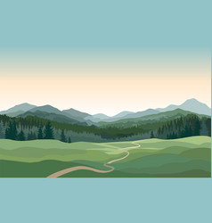 rural landscape with mountains hills fields vector image