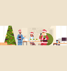 santa claus giving present boxes to businesspeople vector image