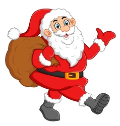 Santa waving and holding sack vector image