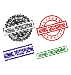 Scratched textured normal testosterone seal stamps vector