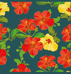 seamless pattern painted flowers fabric vector image