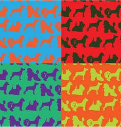 Seamless pop art style background with dogs vector image