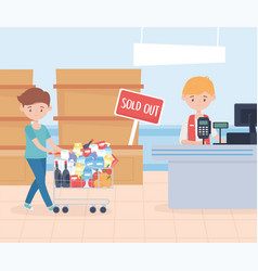 seller and customer man with cart market food vector image