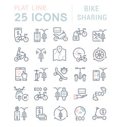 set line icons bike sharing vector image