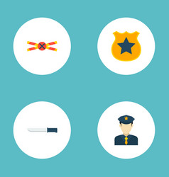 Set of crime icons flat style symbols with police vector