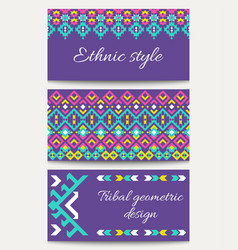 set of ethnic templates in the aztec geometric vector image