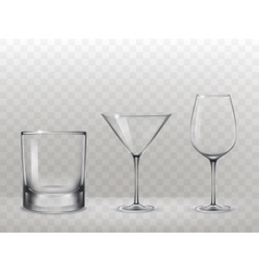 Set of glasses for alcohol in a realistic style vector