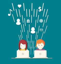 Social Media network people with computers vector