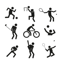 sport figure symbol graphic set vector image