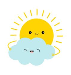 sun holding cloud icon cute kawaii face cartoon vector image