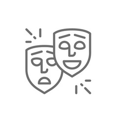 theater masks comedy and tragedy faces smile vector image