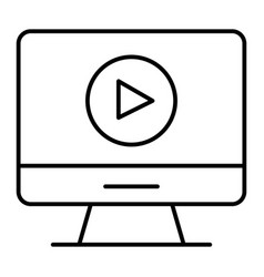 video player on monitor thin line icon computer vector image