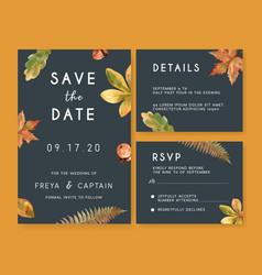 Wedding invitation watercolour design with autumn vector