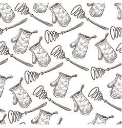 whisk and baking glove textile mitten seamless vector image