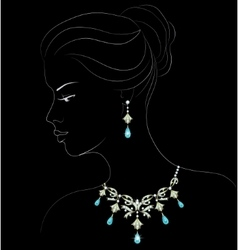 woman with necklace vector image
