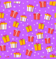 wrapped gifts seamless patterns vector image