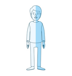 Blue silhouette shading cartoon full body guy with vector