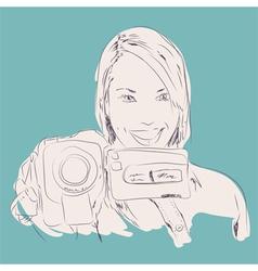 camera girl vector image vector image