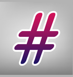 hashtag sign purple gradient vector image vector image