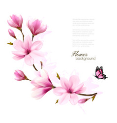 nature background with blossom branch of pink vector image