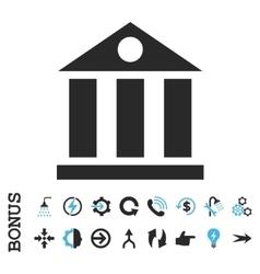 Bank Building Flat Icon With Bonus vector image