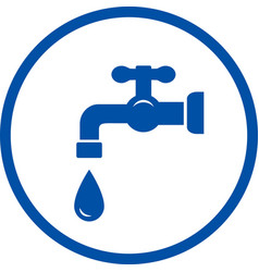blue icon with faucet and drop vector image vector image