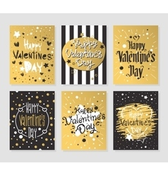 Happy Valentines Day gold and black greeting cards vector image