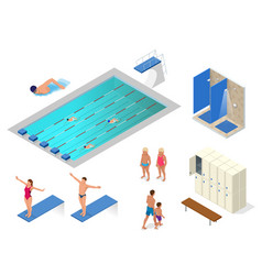 Isometric set of swimming pool swimmers vector