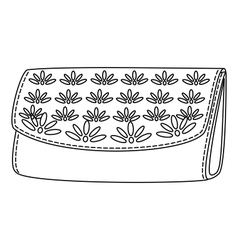 wallet with a floral pattern contour vector image vector image