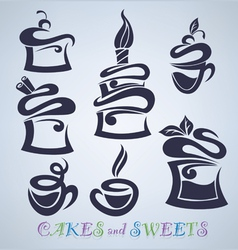 cakes sweets and drinks silhouettes vector image