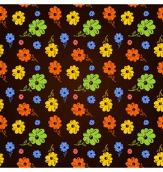 colorful flowers seamless background black vector image vector image