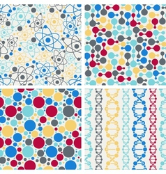 Molecular structure seamless patterns vector image vector image