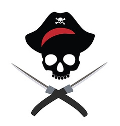 Pirate skull wit crossed daggers vector image