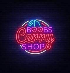 sex shop design template with cherry boobs cherri vector image