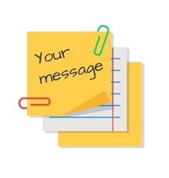Text message on paper stickers vector image