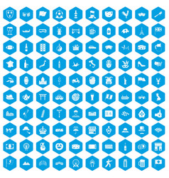 100 tourist attractions icons set blue vector