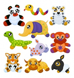 Asian toy animals vector image