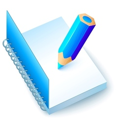 Blue notebook with colored pencil vector image