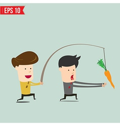 Cartoon Business man trying to reach a carrot - vector image