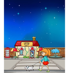 Cartoon girl with dog vector image