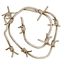 Engraving barbed wire piece vector