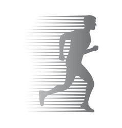 silhouette of isolated man run with moving lines vector image vector image