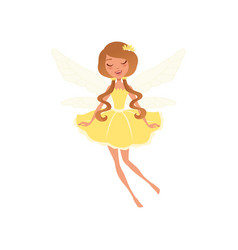 smiling fairy with long brown hair in fancy yellow vector image vector image