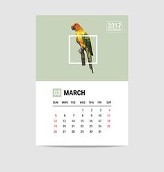 2017 march calendar parrot polygon vector image
