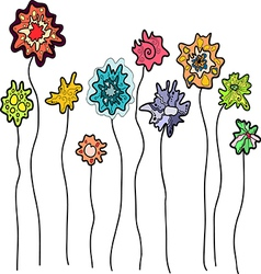 A set of fantasy flowers on a white background vector image vector image