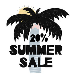 Advert card with lettering 20 summer sale wit palm vector