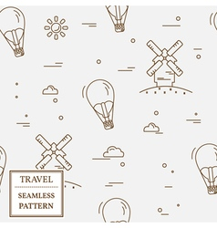 Air balloon and windmill travel seamless pattern T vector